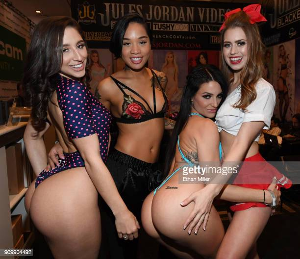 Adult film actresses Abella Danger, Honey Gold, Kissa Sins and Jill Kassidy pose at the Jules Jordan Video booth at the 2018 AVN Adult Entertainment...