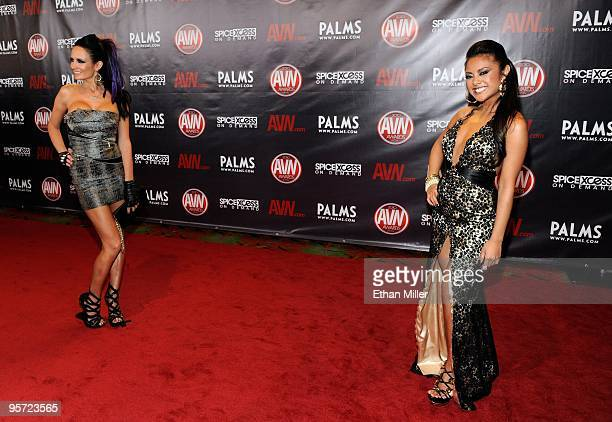 Adult film actresses Alektra Blue and Kaylani Lei arrive at the 27th annual Adult Video News Awards Show at the Palms Casino Resort January 9 2010 in...