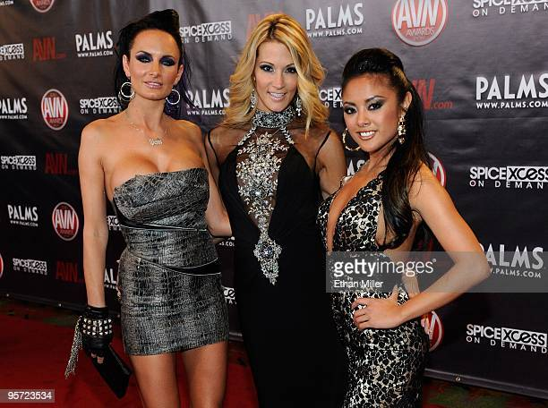 Adult film actresses Alektra Blue jessica drake and Kaylani Lei arrive at the 27th annual Adult Video News Awards Show at the Palms Casino Resort...