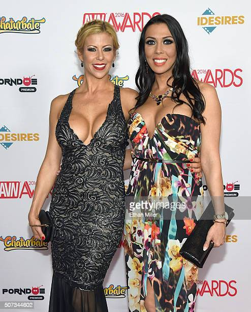 Adult film actresses Alexis Fawx and Rachel Starr attend the 2016 Adult Video News Awards at the Hard Rock Hotel Casino on January 23 2016 in Las...