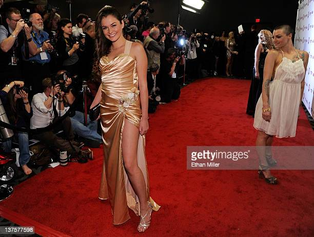 Adult film actresses Allie Haze and Belladonna arrive at the 29th annual Adult Video News Awards Show at the Hard Rock Hotel Casino January 21 2012...