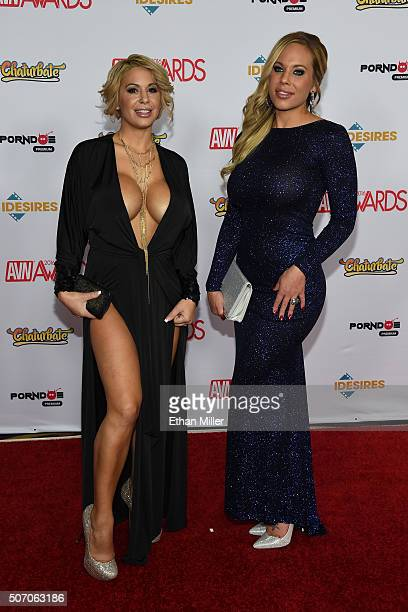 Adult film actresses Alyssa Lynn and Olivia Austin attend the 2016 Adult Video News Awards at the Hard Rock Hotel Casino on January 23 2016 in Las...