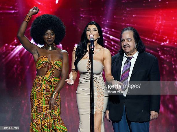 Adult film actresses Ana Foxxx and Romi Rain and adult film actor Ron Jeremy present an award during the 2017 Adult Video News Awards at The Joint...