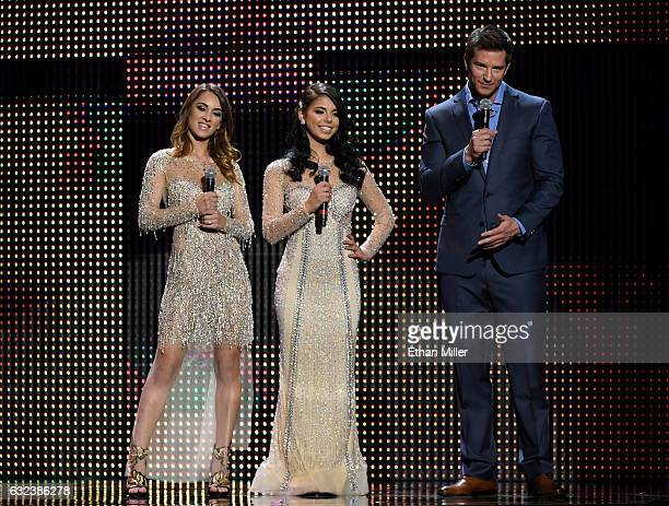 Adult film actresses and trophy girls Uma Jolie and Gina Valentina and comedian Colin Kane speak during the 2017 Adult Video News Awards at The Joint...