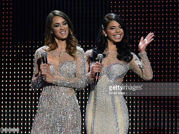 Adult film actresses and trophy girls Uma Jolie and Gina Valentina are introduced during the 2017 Adult Video News Awards at The Joint inside the...