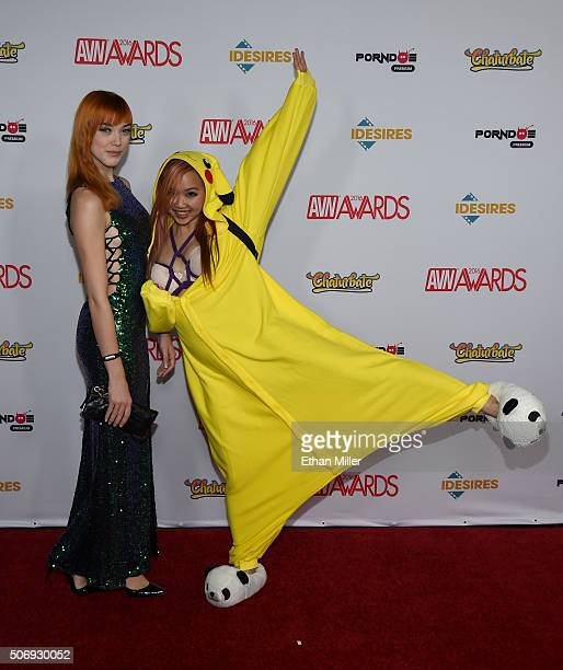 Adult film actresses Anny Aurora and Harriet Sugarcookie attend the 2016 Adult Video News Awards at the Hard Rock Hotel Casino on January 23 2016 in...