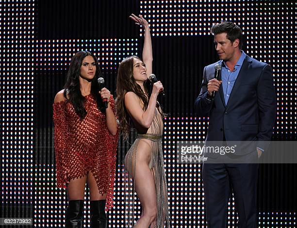 Adult film actresses Aspen Rae and Riley Reid and comedian Colin Kane cohost the 2017 Adult Video News Awards at The Joint inside the Hard Rock Hotel...