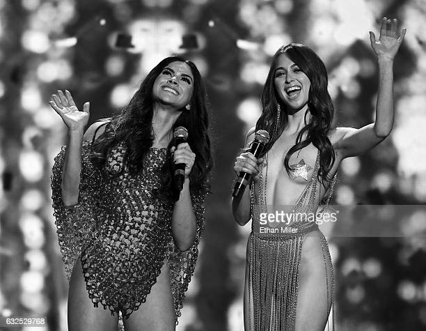 Adult film actresses Aspen Rae and Riley Reid cohost the 2017 Adult Video News Awards at The Joint inside the Hard Rock Hotel Casino on January 21...