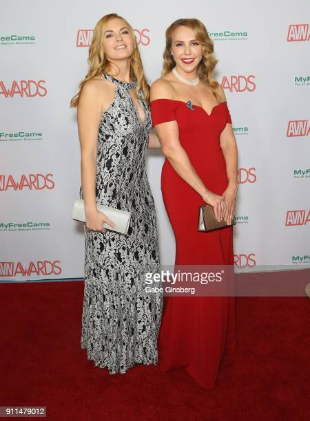 Adult film actresses Bailey Rayne and Holly Randall attend the 2018 Adult Video News Awards at the Hard Rock Hotel Casino on January 27 2018 in Las...