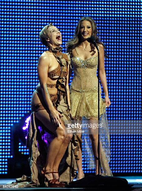 Adult film actresses Belladonna and Jenna Haze host the 26th annual Adult Video News Awards Show at the Mandalay Bay Events Center January 10 2009 in...