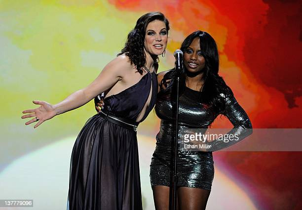Adult film actresses Bobbi Starr and Jada Fire present an award during the 29th annual Adult Video News Awards Show at The Joint inside the Hard Rock...