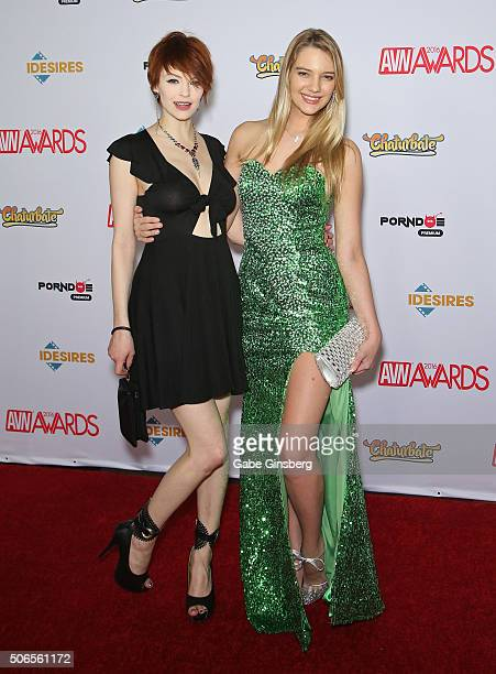 Adult film actresses Bree Daniels and Kenna James attend the 2016 Adult Video News Awards at the Hard Rock Hotel Casino on January 23 2016 in Las...
