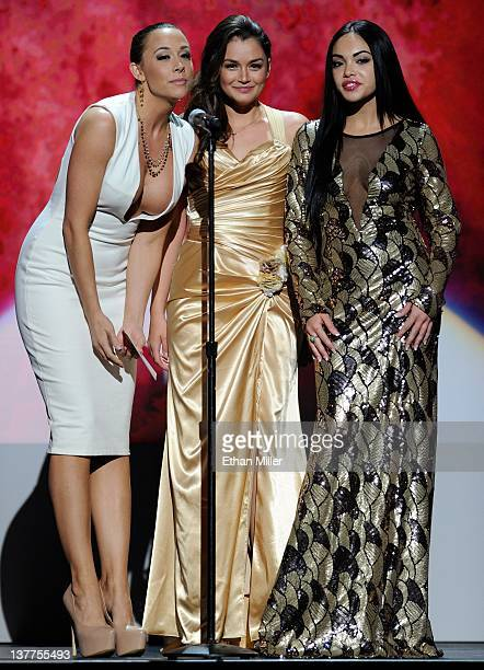 Adult film actresses Chanel Preston Allie Haze and Selena Rose present an award during the 29th annual Adult Video News Awards Show at The Joint...
