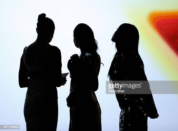 Adult film actresses Chanel Preston Allie Haze and Selena Rose are silhouetted onstage as they watch a video clip while presenting awards during the...