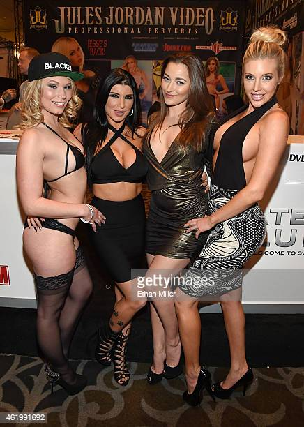 Adult film actresses Dakota James Romi Rain Dani Daniels and Samantha Saint pose at the Jules Jordan Video booth at the 2015 AVN Adult Entertainment...