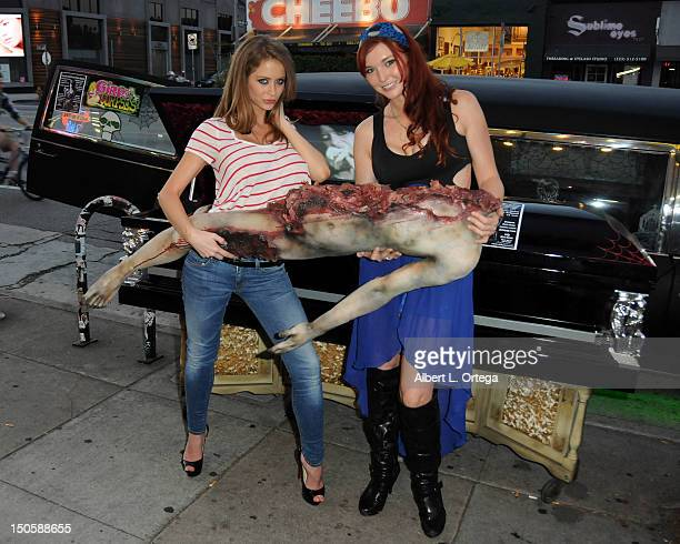 Adult film actresses Emily Addison and Veronica Ricci at the Girls And Corpses Magazine Summer Issue Signing Event held at Meltdown Comics and...