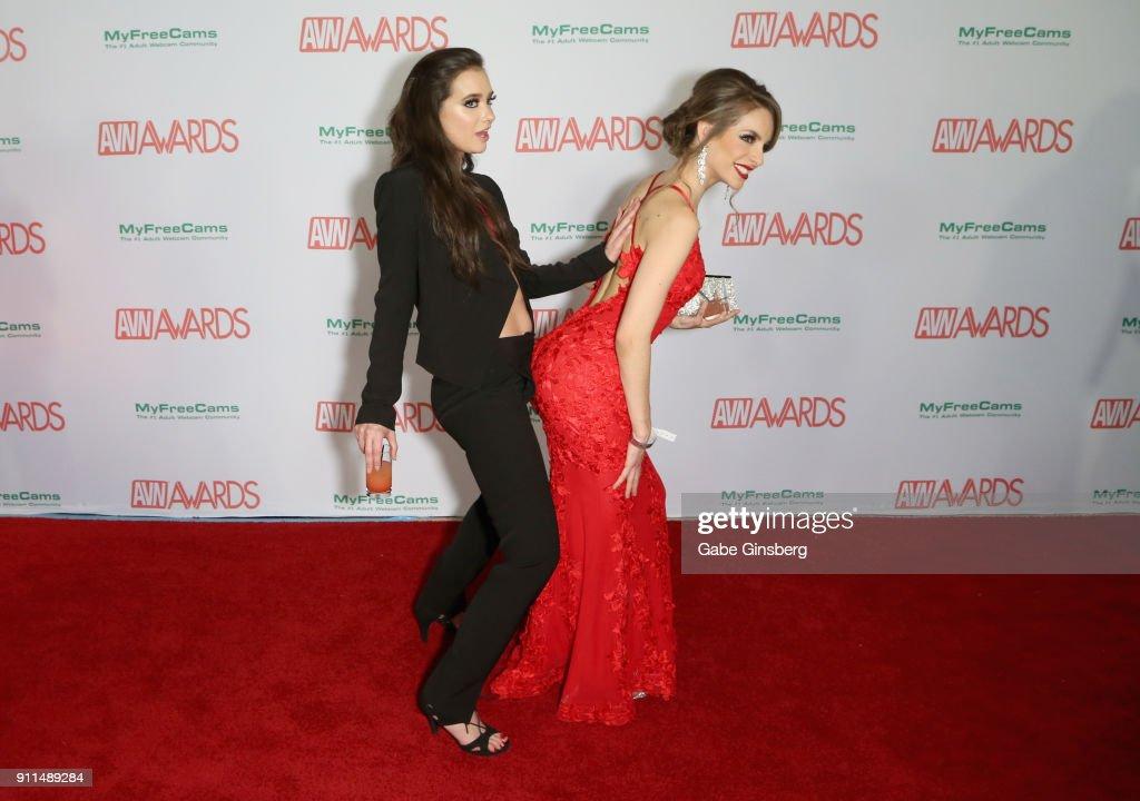 Adult film actresses Gia Paige and Kimmy Granger joke around