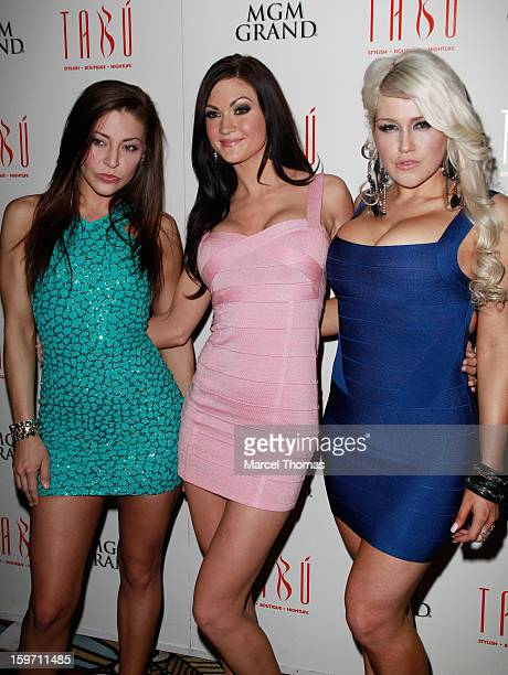 Adult film actresses Gracie Glam Kendall Karson and Nikki Phoenix host a preAVN Awards party at Tabu inside the MGM Grand on January 18 2013 in Las...