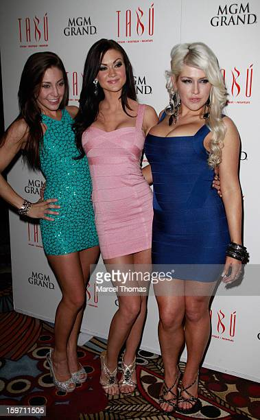 Adult film actresses Gracie Glam, Kendall Karson and Nikki Phoenix host a pre-AVN Awards party at Tabu inside the MGM Grand on January 18, 2013 in...