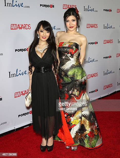 Adult film actresses Hitomi Tanaka and Anri Okita arrive at the 2015 Adult Video News Awards at the Hard Rock Hotel Casino on January 24 2015 in Las...