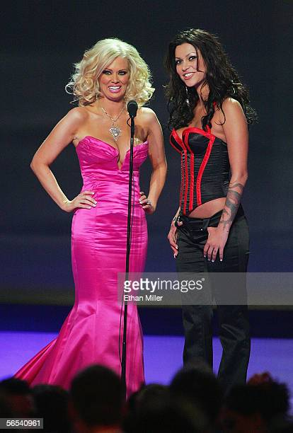 Adult film actresses Jenna Jameson and Nikita Denise present an award at the Adult Video News Awards Show at the Venetian Resort Hotel and Casino...