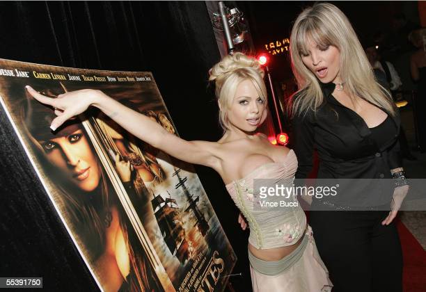 Adult film actresses Jesse Jane and Janine attend the Digital Playground Adam and Eve production of the XXX rated film 'Pirates' on September 12 2005...