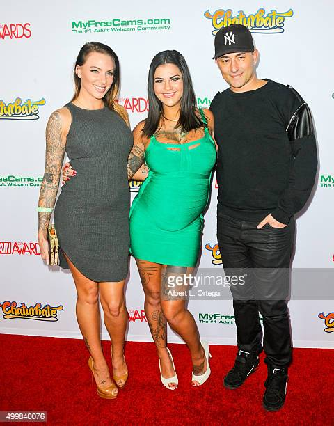 Adult film actresses Juelz Ventura Bonnie Rotten and musician Dennis Desantis at the 2016 AVN Awards Nomination Party held at Avalon on November 19...