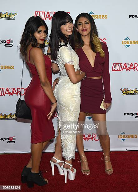 Adult film actresses Katalina Mills, Gina Valentina and Sophia Leone attend the 2016 Adult Video News Awards at the Hard Rock Hotel & Casino on...