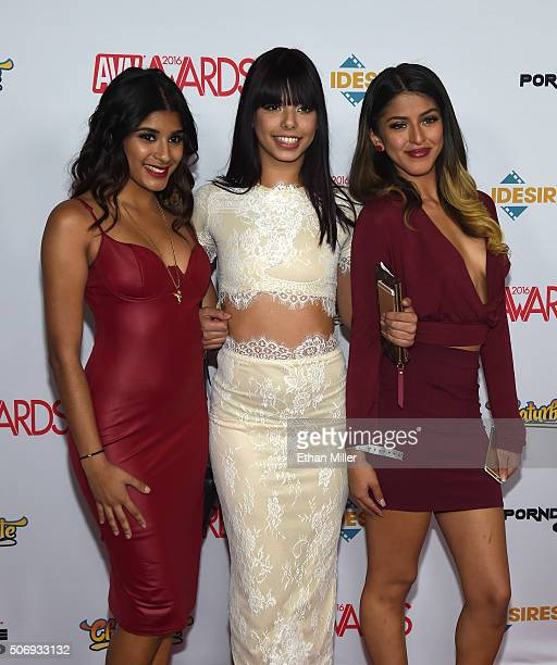 Adult film actresses Katalina Mills Gina Valentina and Sophia Leone attend the 2016 Adult Video News Awards at the Hard Rock Hotel Casino on January...