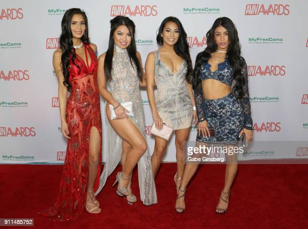 Adult film actresses Katya Rodriguez Cindy Starfall Monica Asis and Veronica Rodriguez attend the 2018 Adult Video News Awards at the Hard Rock Hotel...