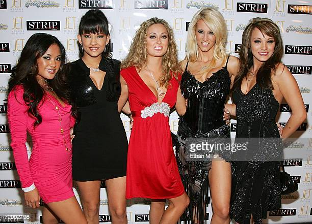 Adult film actresses Kaylani Lei and Carmen Hart Penthouse Pet Melissa Jacobs and adult film actresses jessica drake and Charlie Laine arrive at the...