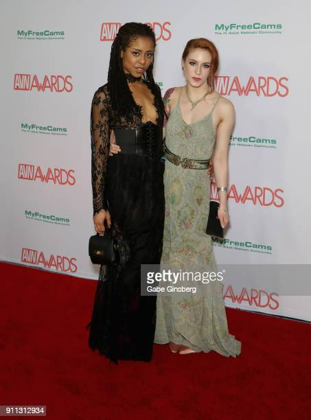 Adult film actresses Kira Noir and Anna de Ville attend the 2018 Adult Video News Awards at the Hard Rock Hotel Casino on January 27 2018 in Las...