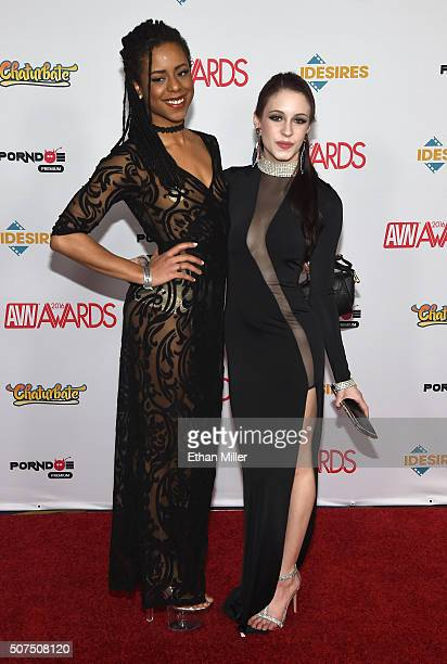 Adult film actresses Kira Noir and Anna DeVille attend the 2016 Adult Video News Awards at the Hard Rock Hotel Casino on January 23 2016 in Las Vegas...