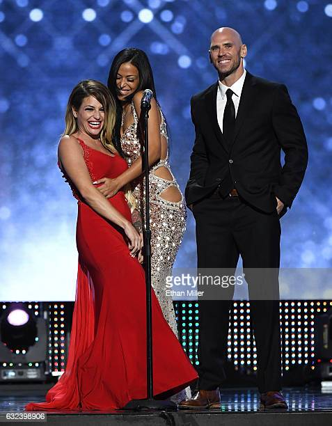 Adult film actresses Kissa Sins and Layla Sin and adult film actor Johnny Sins present an award during the 2017 Adult Video News Awards at The Joint...