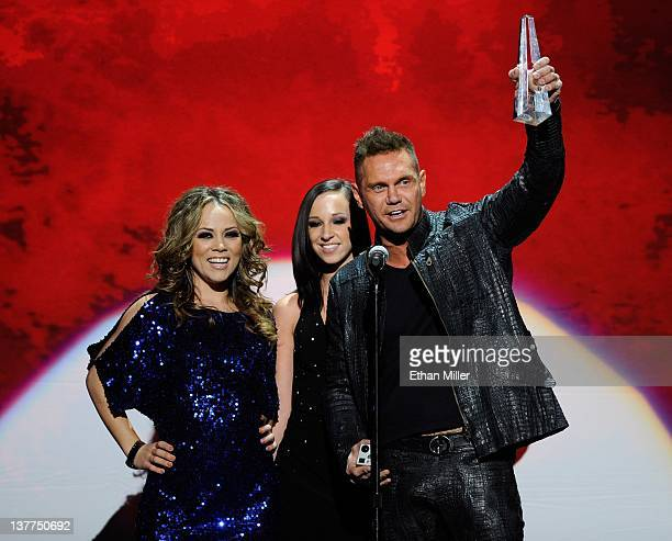 Adult film actresses Kristina Rose and Jada Stevens and adult film actor Nacho Vidal accept an award during the 29th annual Adult Video News Awards...