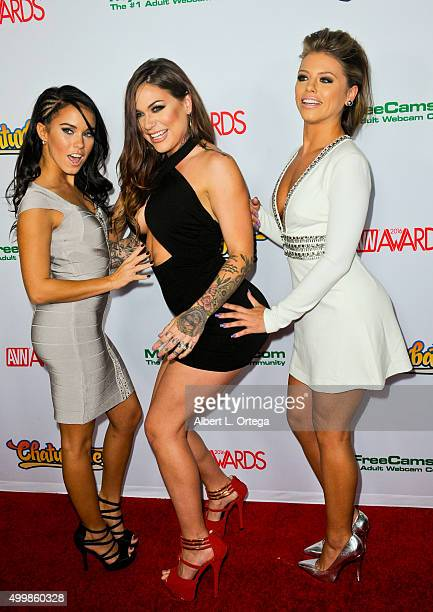 Adult film actresses Megan Rain Karmen Karma and Adriana Chechik at the 2016 AVN Awards Nomination Party held at Avalon on November 19 2015 in...