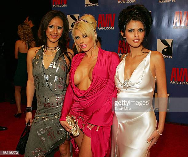 Adult film actresses Nadia Styles Brooke Haven and Shy Love arrive at the Adult Video News Awards Show at the Venetian Resort Hotel and Casino...