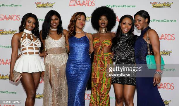 Adult film actresses Nicole Skyler Yara Skye Lotus Lain Ana Foxxx Chanell Heart and Jasmine Webb attend the Adult Video News Awards AVN Awards at...
