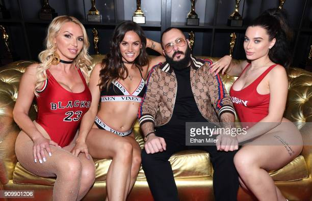 Adult film actresses Nikki Benz and Tori Black adult film producer/director Greg Lansky and adult film actress Lana Rhoades appear at Lansky's...