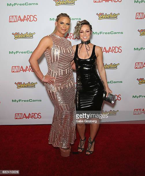 Adult film actresses Phoenix Marie and Jada Stevens attend the 2017 Adult Video News Awards at the Hard Rock Hotel Casino on January 21 2017 in Las...