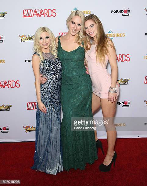 Adult film actresses Piper Perri Cadence Lux and Sydney Cole attend the 2016 Adult Video News Awards at the Hard Rock Hotel Casino on January 23 2016...