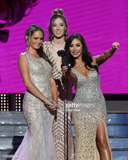 Adult film actresses Prinzzess Haley Reed and Christiana Cinn present an award during the 2019 Adult Video News Awards at The Joint inside the Hard...