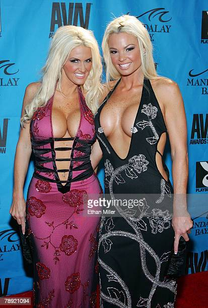 Adult film actresses Rhyse Richards and Rhylee Richards arrive at the 25th annual Adult Video News Awards Show at the Mandalay Bay Events Center...