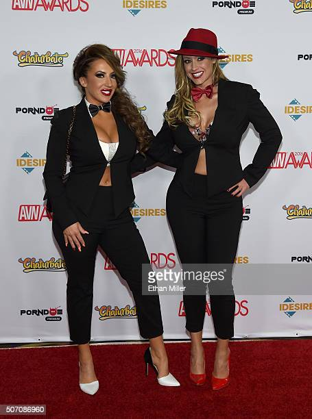 Adult film actresses Richelle Ryan and Eva Notty attend the 2016 Adult Video News Awards at the Hard Rock Hotel Casino on January 23 2016 in Las...