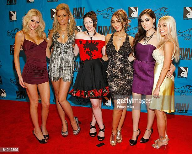 Adult film actresses Riley Steele Angelina Armani Stoya Katsuni Sasha Grey and Jesse Jane arrive at the 26th annual Adult Video News Awards Show at...