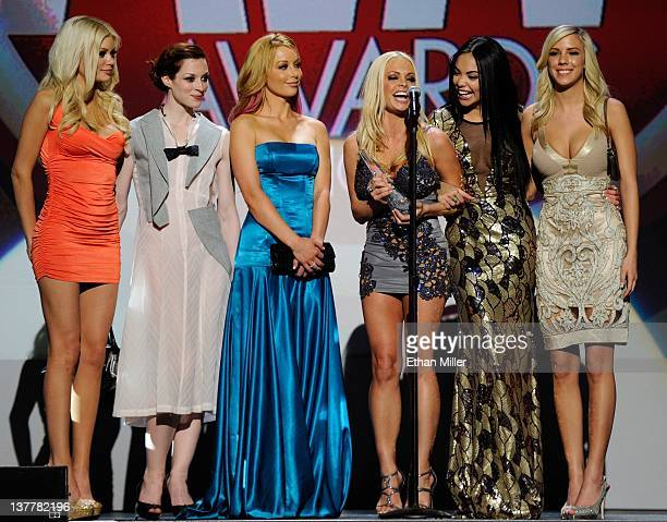 Adult film actresses Riley Steele Stoya Kayden Kross Jesse Jane Selena Rose and BiBi Jones accept the award for Top Renting and Selling Release for...