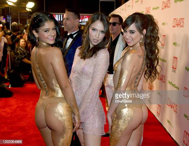 Adult film actresses Ryan Reid Izzy Lush and Riley Reid attend the 2020 Adult Video News Awards at The Joint inside the Hard Rock Hotel Casino on...