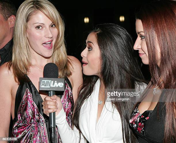 Adult film actresses Samantha Ryan Michelle Maylene and Ann Marie Rios attend the premiere of the documentary 'Naked Ambition An R Rated Look at an X...