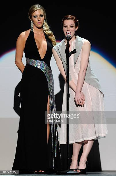 Adult film actresses Samantha Saint and Stoya present an award during the 29th annual Adult Video News Awards Show at The Joint inside the Hard Rock...