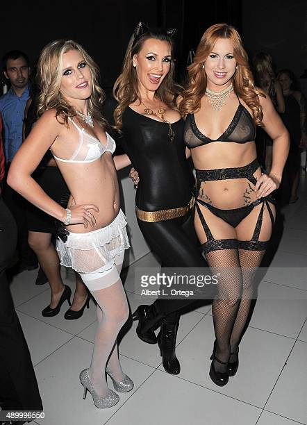Adult film actresses Sasha Hart Tanya Tate and Edyn Blair at FSC After Dark Capes Panties A Superhero Costume Lingerie Auction and Silent Auction to...